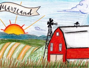 Front Cover - red barn with Maryland