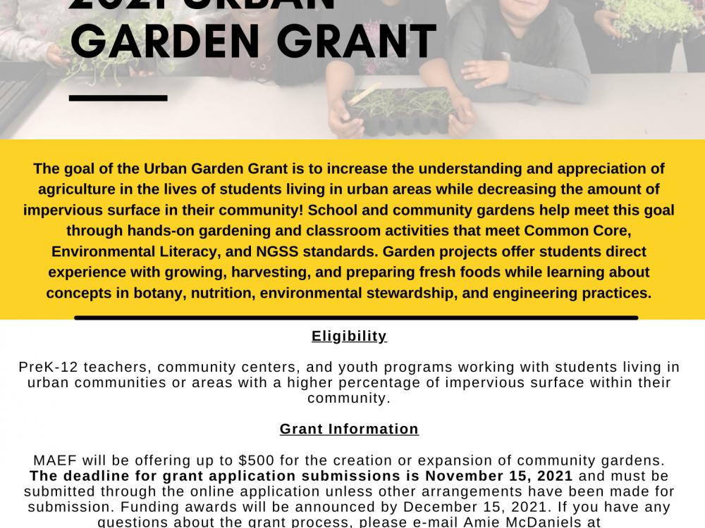 2021 Urban Garden Grant